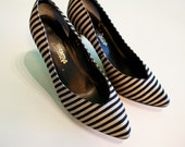 Vintage Black and Grey Striped Suede High Heel Shoes sz 6