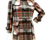 Vintage 1970s Brown Plaid Wool Hooded Jacket