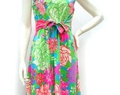 Vintage 1960s Pink and Green Floral Nylon Dress