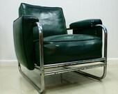 Chrome and Dark Green Vinyl Club Chair Machine Age Art Deco