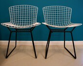 On Hold Early Knoll Pair of White and Black Bertoia Chairs