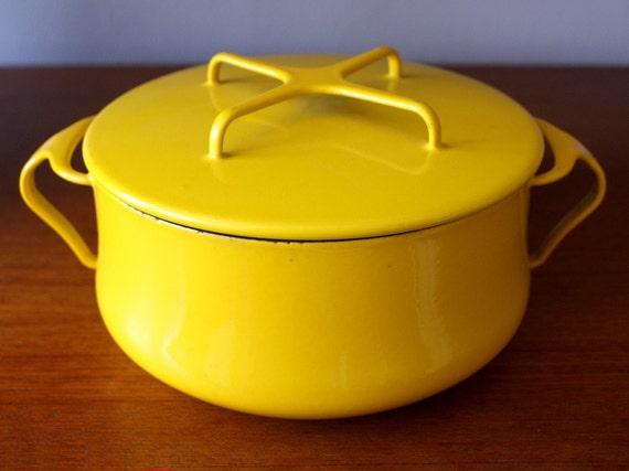 Vintage Yellow Dansk Kobenstyle Enamelware Pot France