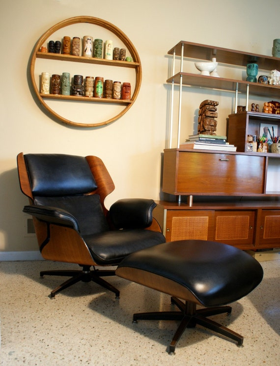Reserved Mid-Century Modern Black Drexel Eames Era Lounge Chair and Ottoman