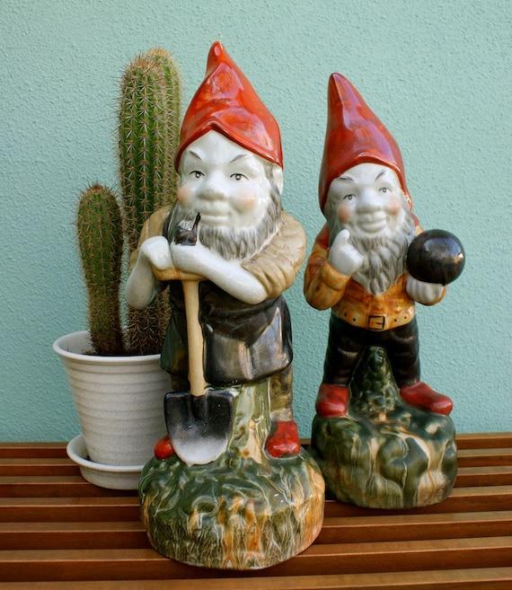 Gnome In Garden: Vintage Garden Gnome Figures 1960 1970s