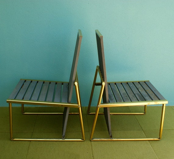 Gartenmobel Holz Rustikal Selber Bauen : Set of 4 Vintage Deco Teak and Aluminum Patio Deck Chairs made by Troy