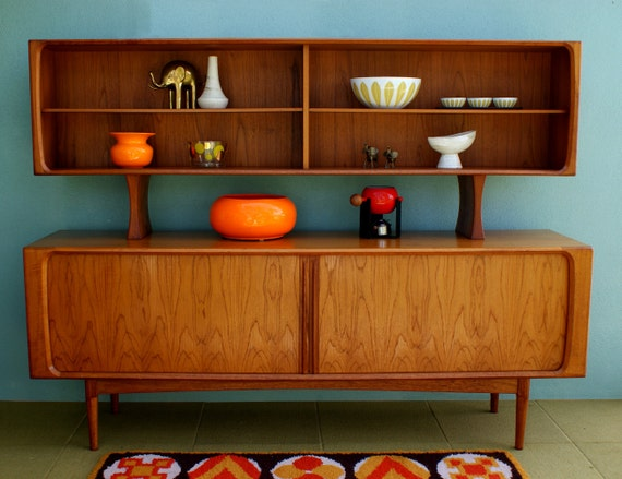 ON RESERVE Mid Century Danish Modern Arne Vodder Sideboard Cabinet with Tambour Doors
