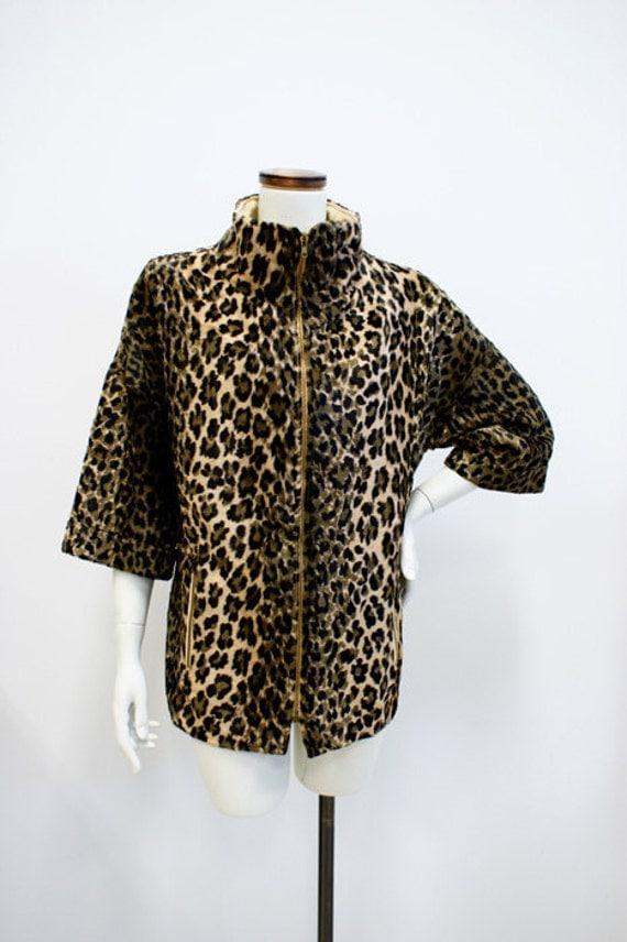 SALE Vintage 1950s-1960s Leopard Print Faux Fur Jacket
