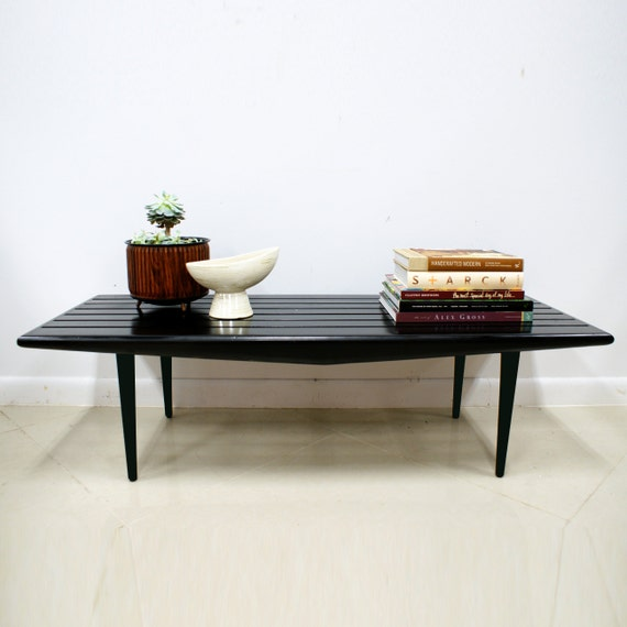 SALE Vintage Mid Century Modern Black Slat Bench/Coffee Table