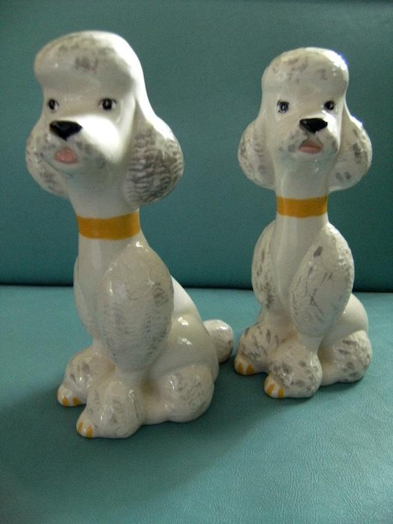 Vintage Kitchy Ceramic Poodle Figurines 1950s