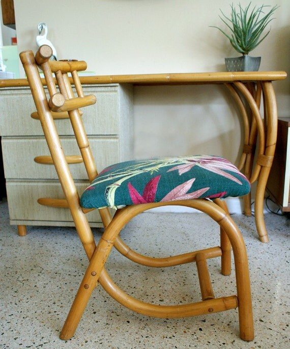 Etsy Vintage Bamboo Furniture: Vintage 1950s Rattan Desk And Matching Chair With Tropical