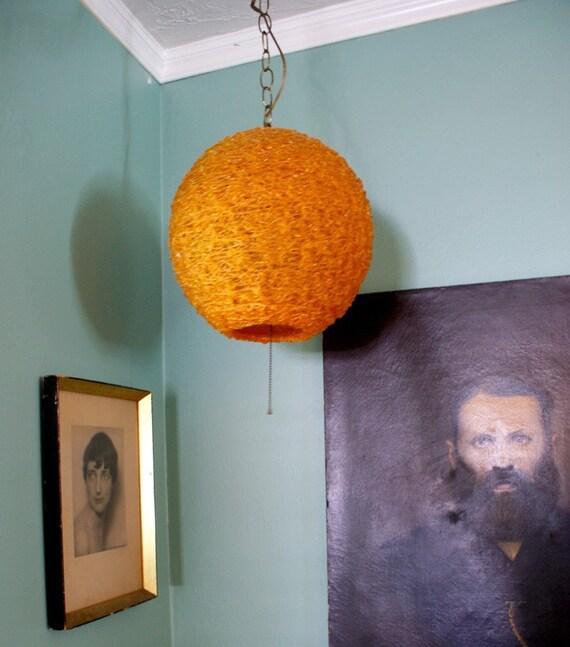 Vintage 1960s Orange Spun Glass Spaghetti Swag Lamp Mod