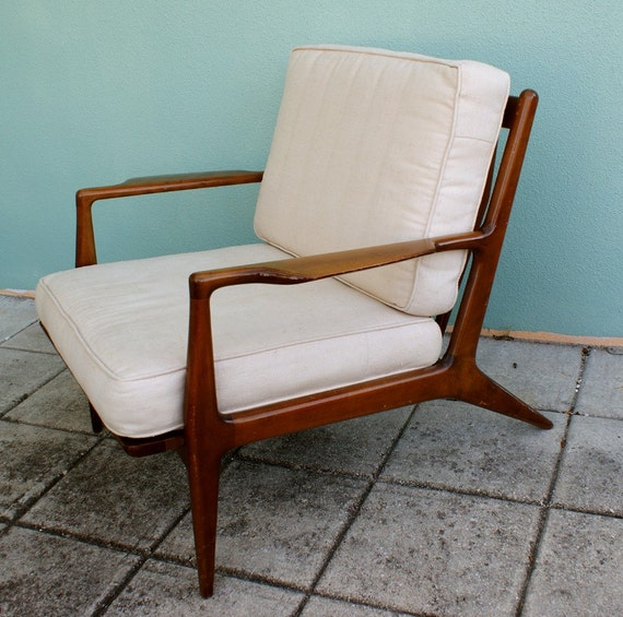 Vintage Danish Modern Lounge Chair 1950s 1960s
