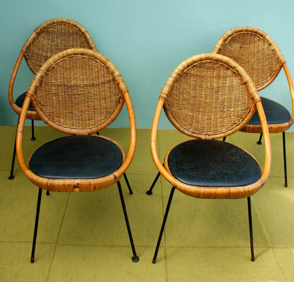 Vintage Mid Century Modern Salterini Rattan Egg Chairs Set Of