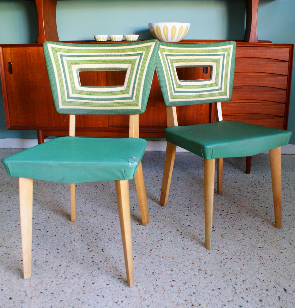 Vintage Pair Of Heywood Wakefield 1940s Green Vinyl Dining