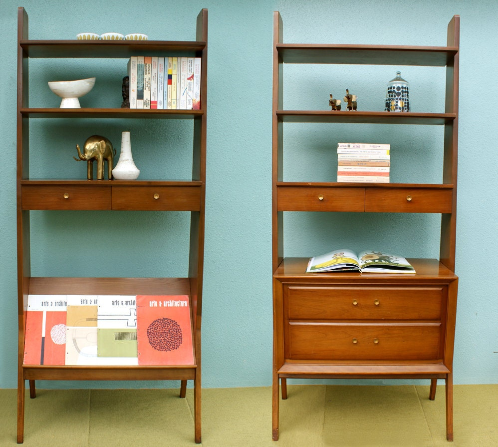 Vintage Pair Of Mid Century Modern Bookcases Room Divider
