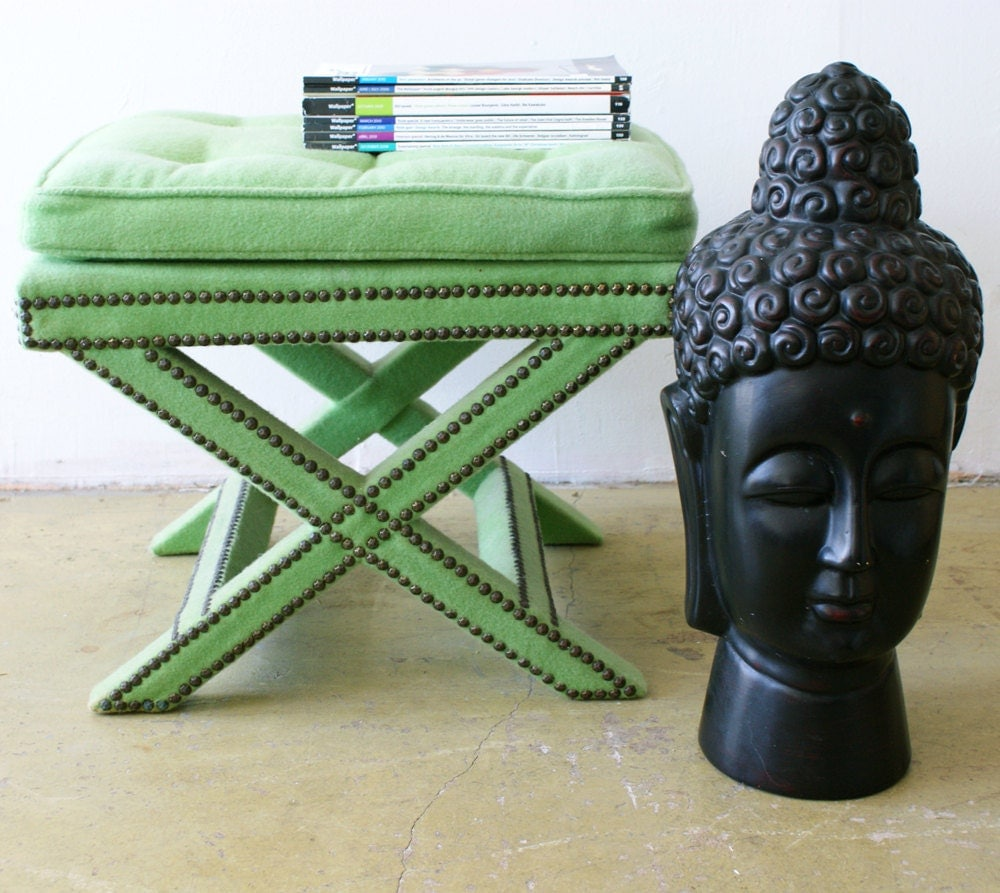 Green X Bench Hollywood Regency Stool Ottoman