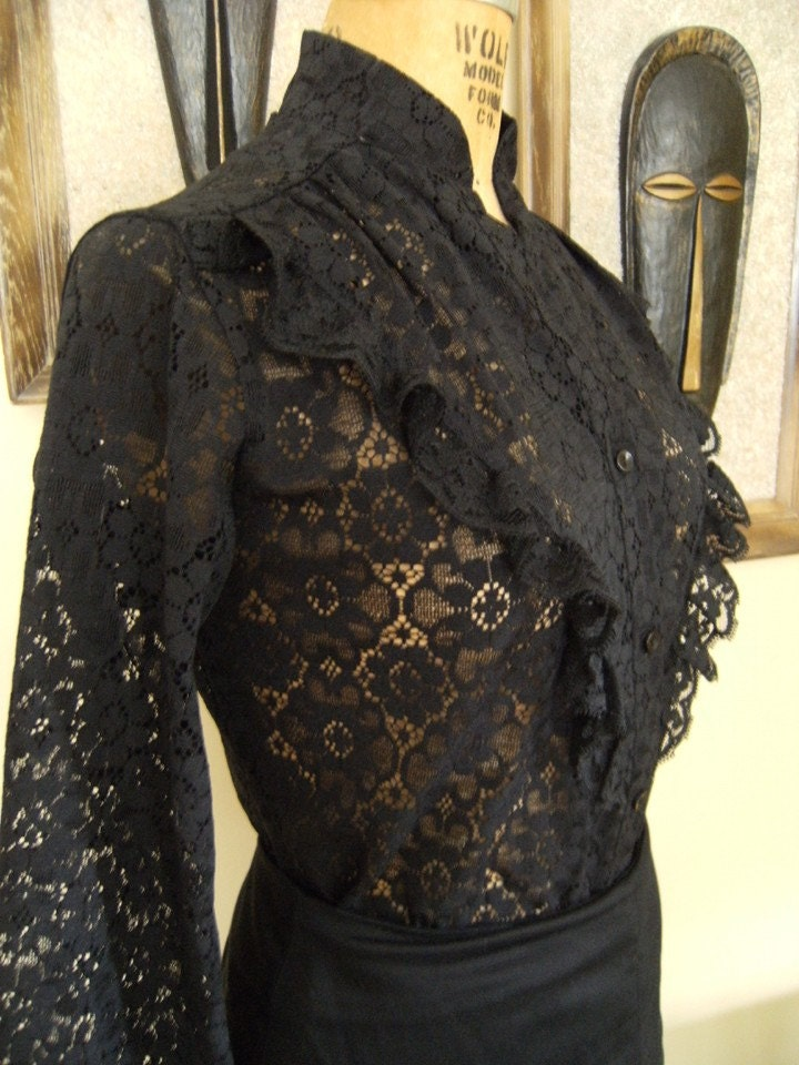 Vintage Black Lace Victorian Style Blouse Size Medium