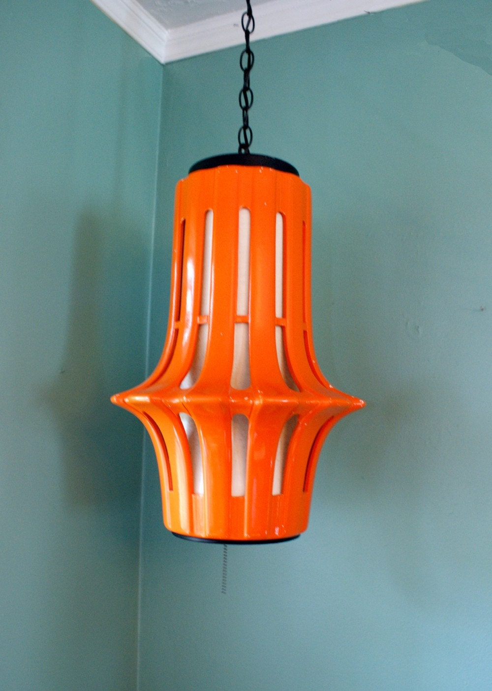 Vintage Orange Ceramic Hanging Swag Lamp Fixture 1960s Mod