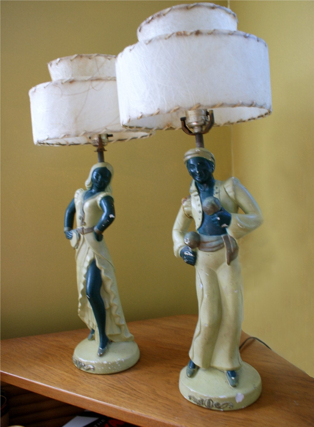 Vintage 1940s 1950s Chalkware Figural Dancer Pair Of Lamps