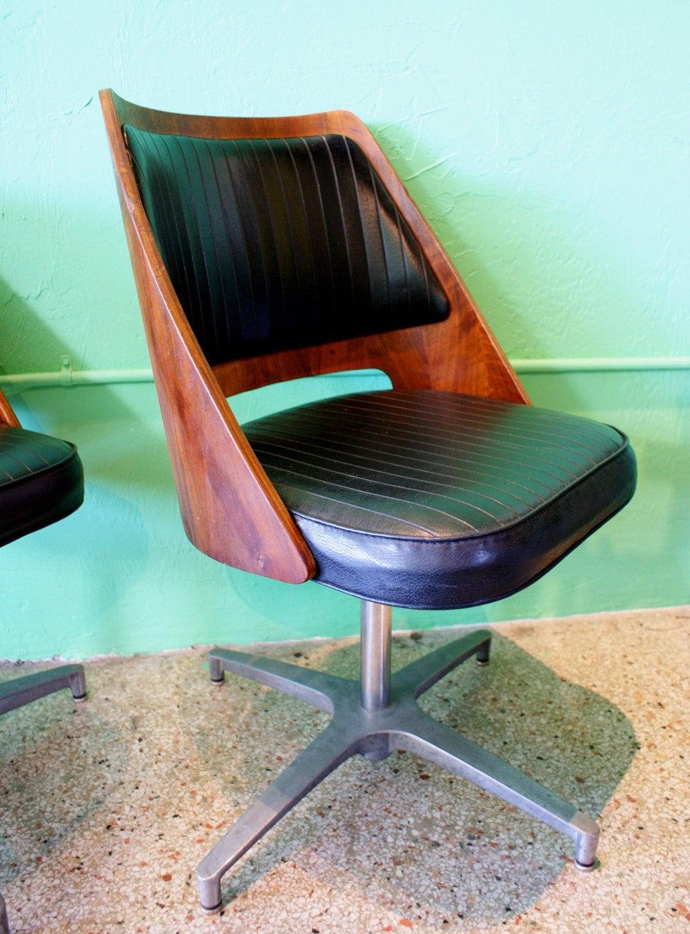 Vintage Bent Plywood And Black Vinyl Swivel Chair Set Of 2