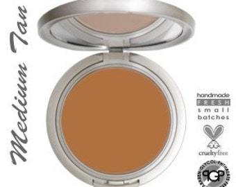 Natural and Organic Cream To Powder Mineral Foundation In MEDIUM TAN   Acne Safe Mineral Makeup  With Argan oil  Super Lightweight