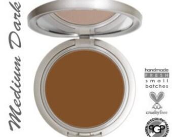 Natural and Organic Cream To Powder Mineral Foundation  Perfect  Match™  MEDIUM DARK or DARK  Cruelty Free | Non Toxic Makeup