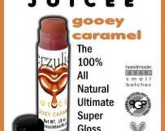 2  Juicee Lip Glosses High Sine Lip Gloss in Gooey Caramel and Sugar Kisses  Organic lip shine