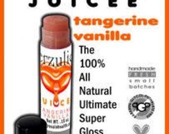 Juicee Tube Natural Lip gloss Pink with gold shimmer  Tangerine Vanilla