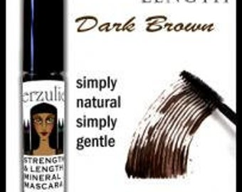 All Natural and Organic  Mineral Mascara  Dark Brown   Gentle Mascara Formula with Pro Vitamin B5  Unscented