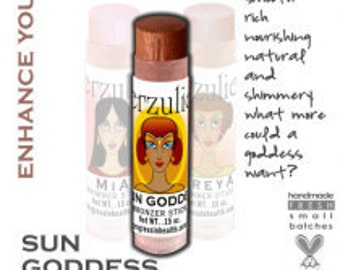 Organic and Natural Cosmetics Sun Goddess Mineral Bronzing Shimmer Stick With Argan Oil  Non-comedogenic  Great for cheeks, lips and eyes
