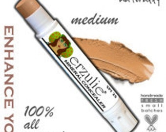 Natural Mineral Concealer in MEDIUM   acne safe makeup non-comedogenic  extra coverage with argan oil
