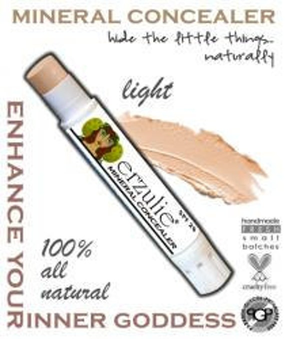 Natural Mineral Concealer  Extra Coverage  Organic makeup  Non-Comedogenic In LIGHT with color adjusting mineral blend  Natural Concealer