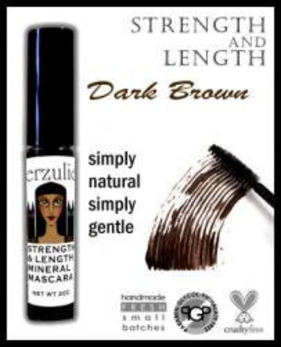 All Natural and Organic  Mineral Mascara  Dark Brown   Gentle Mascara Formula with Pro Vitamin B5  Unscented