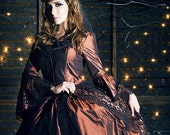Copper and Black Gothic Victorian Marie Antoinette Steampunk Gown Medium In Stock