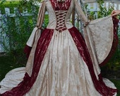 Gwendolyn Two Tone Medieval or Renaissance Velvet and Lace Gown Custom and Necklace