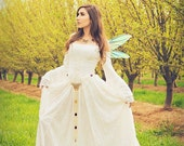 Gwendolyn Medieval or Renaissance Fairy Wedding Gown Velvet and Lace Custom XS-XL