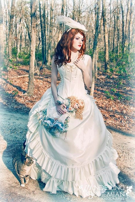 Items similar to victorian reproduction wedding or costume for Victorian corset wedding dresses