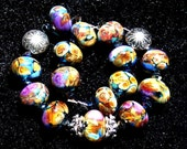 Canyon Sunset, Handmade  Lampwork Glass Beads SRA  Raku Black Gold Set