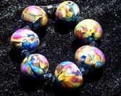 Timber Lake, Handmade  Lampwork Beads  SRA  Raku Black Gold Glass Set