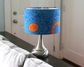 14 inch drum shade in an orange geometric flower print READY TO SHIP