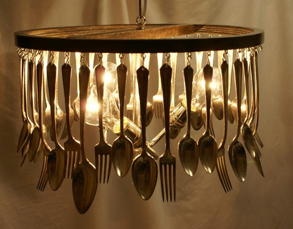 Antique Silverware Chandelier