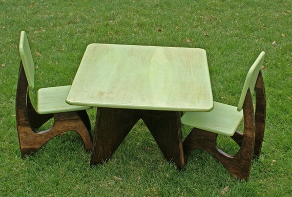 Custom made modern child table and chair set