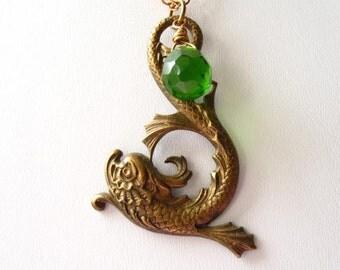 Brass Nouveau Dragonfish and Emerald Briolette Necklace