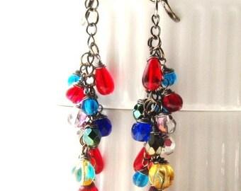 Gypsy Colorful Czech Glass Long Earrings