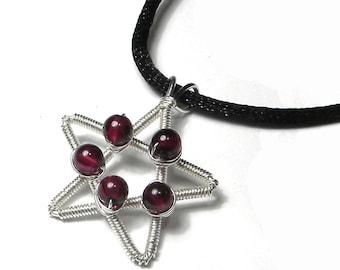 Garnet and Silver Pentagram Necklace