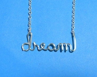 Silver wire DREAM necklace