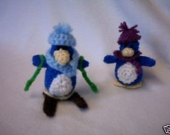 Crochet Pattern Set for Penguin Family + Outfits + Skis - perfect little playset or for Winter & ChristmasDecor