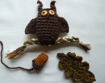 Crochet Pattern Set for Little Owl + Acorn + Oak Leaf - perfect for Fall wreaths and decor