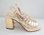 1970s Italian Gold Slingback Heels by Size 7