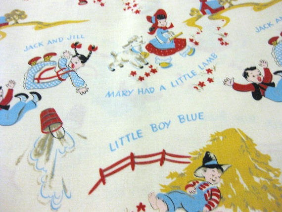 Retro mother goose nursery rhymes fabric 1 yard for Retro nursery fabric